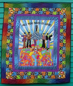 Beatles All You Need is Love Quilt by lucyintheskyquilts on Etsy, $210.00