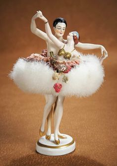 German Porcelain Half Doll Powder Dish as Double-Figure Ballerinas 1500/2300