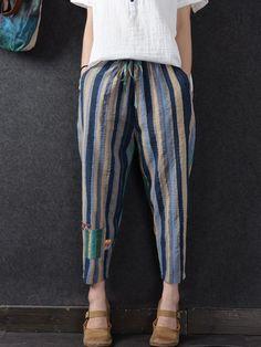 Casual Striped Elastic Waist Drawstring Pants For Women Linen Pants Women, Pants For Women, Clothes For Women, Blouse Designs Silk, Kurti Designs Party Wear, Drawstring Pants, Pants Pattern, Cotton Pants, Fashion Pants