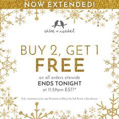 We've extended our Buy 2, Get 1 FREE Sale – stack up + save 'til TONIGHT at 11:59pm EST! Shop my online boutique: https://www.chloeandisabel.com/boutique/lynnepelzek #chloeandisabel #buy2get1 #sale