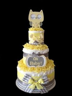 Neutral Chevron Yellow and Gray Owl Diaper Cake Baby Shower Centerpiece on Etsy, $45.00 by bertie