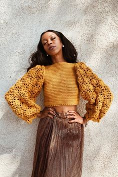 Pull Crochet, Thread Crochet, Crochet Crafts, Knit Crochet, Crochet Shirt, Crochet Tops, Crochet Projects, Free Crochet, Bikinis Crochet