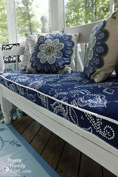 "Outdoor Cushion:  ""Tutorial for making a bench cushion with piping. Before we get started I wanted to let you in on a little secret: The bench cushion and side table fabrics you see below are actually shower curtains!  You read that right. Shower curtains are not only inexpensive, but they are durable and can stand up to moisture. This makes them perfect for outdoor use."""
