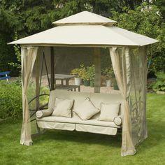 Greenfingers Regency Swing Seat Bed Gazebo Hammock Natural Cream White 3 Seater