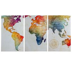 Art world map ii watercolor unframed wall art print watercolor crystal art 3 piece world map wrapped canvas wall art dcor set 19 x 30 gumiabroncs Image collections