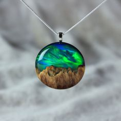 Aurora borealis resin jewelry Northern lights - Wood and resin necklace by Wood All Good on Bored Panda