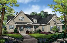 NOW AVAILABLE! The Simon House Plan #1351. Decorative brackets and a wide porch bring inviting curb appeal to this stylish home. http://www.dongardner.com/house-plan/1351/the-simon. #Small #OneStory #European