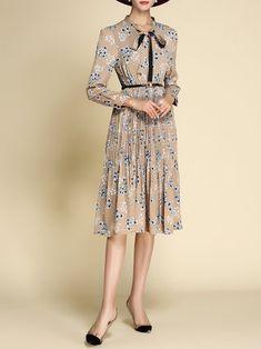 Apricot Floral-print Long Sleeve Midi Dress