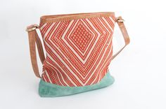 Estrella Handbag. Orange and mint with leather.