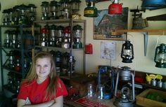 My daughter, Emma,  hanging out with me in the garage .