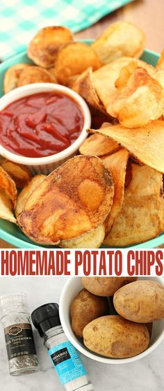 Drop the store bought chips because I've got the perfect Homemade Potato Chips… Potato Chips Homemade, Fried Potato Chips, Think Food, Appetizer Recipes, Appetizers, Chips Recipe, Yummy Food, Tasty, Healthy Food