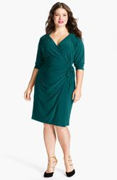 Suzi Chin for Maggy Boutique Jersey Faux Wrap Dress (Plus)