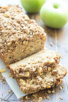 Greek Yogurt Apple-Cinnamon Bread - a delicious for or even dessert! The Greek yogurt in the batter keeps this apple quick bread incredibly moist, and you will love the pieces of cinnamon-sugar apples that you get with every bite! Apple Recipes, Low Carb Recipes, Baking Recipes, Apple Desserts, Apple Bread Recipe Healthy, Fall Desserts, Quick Bread Recipes, Apple Cinnamon Bread, Cinnamon Apples