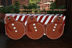 Items similar to 15013 Roly Poly Gingerbread Trio Pattern Packet Oil Creek Originals on Etsy Painted Bricks Crafts, Brick Crafts, Painted Pavers, Painted Rocks, Christmas Themes, Holiday Crafts, Christmas Crafts, Holiday Ideas, Christmas Decorations