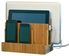 Bamboo Multi-Charging Station - Contemporary - Desk Accessories - by Great Useful Stuff