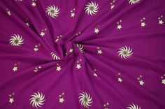 Indian Textile Chiffon Saree Floral Embroidered Purple by EtKrafts, $12.50