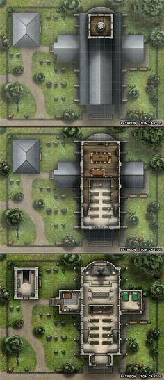 Homebrewing layout [Battlemap] [Church] Church of the Everlight - A Three Storey Church and Cemetery : FantasyMaps Fantasy Places, Fantasy Map, Fantasy World, Dnd World Map, Environment Map, Pathfinder Maps, Medieval, Building Map, Rpg Map