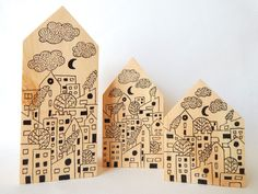 City life wooden houses.  Painted wooden houses.  by DecorAsylum