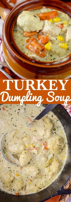 Turkey Dumpling Soup is the most amazing comfort food! Easy enough for a weeknight meal, good enough for guests!This Turkey Dumpling Soup is the most amazing comfort food! Easy enough for a weeknight meal, good enough for guests! Turkey And Dumplings, Dumplings For Soup, Dumpling Recipe, Leftover Turkey Recipes, Leftovers Recipes, Turkey Leftovers, Turkey Meals, Crockpot Recipes, Soup Recipes