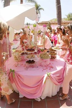 Love This Girlie Table. And Sweet Princess Style Top Tablecloth Gathers. A  Shower