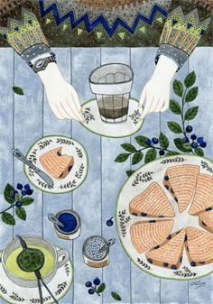 Home, sweets, pets & patterns…pretty much all I need to get me through a good day! More watercolors by Yuliya, posted on the blog: http://www.artisticmoods.com/yuliya/