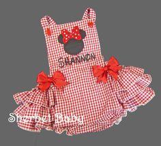 Minnie Inspired Handmade Baby Girl Ruffled Sunsuit by SherbetBaby