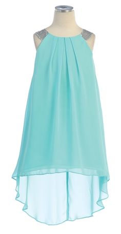Beautiful special occasion dress for your little girl by Sweet Kids. Gorgeous 3-Tier Chiffon dress with with Sequence Trim at Neckline. girls' high-low hem chiffon dress