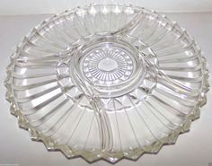 Vintage Clear Pressed Glass 5 Part Round Divided Relish Tray/Plate/Dish #Unmarked