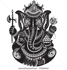 Vector illustration of an Indian god - Ganesha - in black and white tattoo style