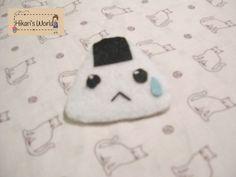Handmade pin of a onigiri. $2.05