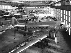 KLM Douglas DC-3's in maintenance, 1938.