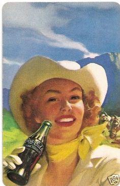 Coca Cola Western Cowgirl Vintage Advertising 1950s