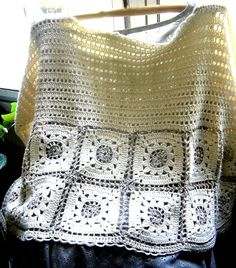 Top - no pattern but not too difficult to figure out. The front and back looks the same. Granny squares at the bottom and dc to the shoulder.