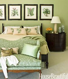 Love the shades of green, not overwhelming, just peaceful and soothing. Like fabric on loveseat in particular.