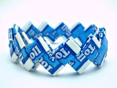 Vanilla Tootsie Roll Recycled Candy Wrapper Bracelet