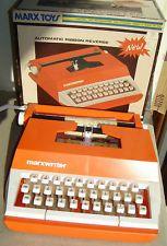 Vintage 1975 Marx Marxwriter Plastic Toy Typewriter Orange White Woolworths Box