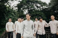 This Couple Opted for Simple and Understated Details for Their Wedding, and It Looked Stunning! Barong Tagalog Wedding, Barong Wedding, Filipiniana Wedding, Filipiniana Dress, Wedding Motif Color, Wedding Motifs, Team Groom, Groom And Groomsmen, Wedding Entourage Dress