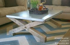 Pottery Barn Knock-Off Zinc Coffee Table | Do It Yourself Home Projects from Ana White