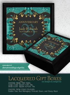 customizable Wooden Gift Boxes — Unique and beautiful fractal design printed on framed tile lid Teal And Gold, Teal Green, Black Gold, Wooden Gift Boxes, Inside The Box, Fractal Design, Golden Oak, W 6, Wedding Anniversary Gifts