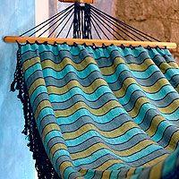 'Sea Breeze' cotton for those lazy days Best Camping Hammock, Love Home, Lazy Days, Hammocks, Anniversary Ideas, Swings, Garden Art, Breeze, Beach Mat