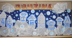 Zima 2007 Crafts For Kids, Arts And Crafts, School Clubs, Winter Project, Winter Art, Advent, Xmas, Christmas, Blue And White