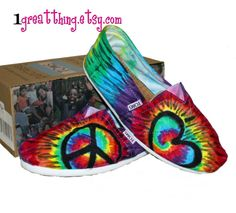 Tie Dye TOMS Shoes - Peace and Love - hand dyed and custom made - by One Great Thing. $110.00, via Etsy.