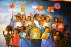 Las posadas - A raíz de la llegada de los españoles, la evangelización era un tema básico en la colonización de America, así que al igual que con muchos pueblos del mundo, tomaron lositos locales y los sintetizaron con las creencias cristianas. Las posadas no son la excepción y es que la cuestión de regalar comida ya era un hecho que se presentaba en las fiestas del solsticio de invierno en Tenochtitlan, así que lo fue muy difícil mezclar las ideologías. Spanish Christmas, Christmas Images, Christmas Crafts, Mexican Christmas Traditions, Holiday Traditions, Mexican Folk Art, Mexican Style, Latin Artists, Outdoor Christmas Decorations