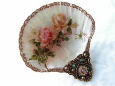 Vintage Roses Small Shell Jewelry Dish by rtistmary on Etsy, $18.00
