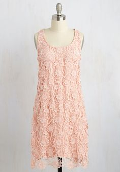 You lean towards styles that are thoroughly feminine with a surprising twist, making this crocheted lace dress exactly your type! A ModCloth-exclusive design from Wendy Bird, this scoop neck frock will have you hooked with its soft pink hue, dimensional appliques, and timelessly attractive aesthetic.
