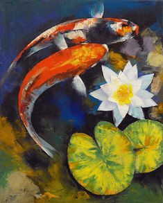 Michael Creese 'Koi Fish and Water Lily' Gallery-wrapped Canvas is a high-quality canvas print example of a serene pond with its blissful fish and water lily inhabitants. This wonderful piece will add