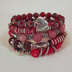 Splash of Red and Tibetan Silver  Memory Wire  by BlooMoonJewelry,