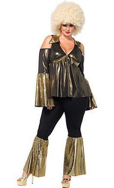 36730d5be59f2 Adult Black   Gold Disco Diva Costume Plus Size Costumes For Women