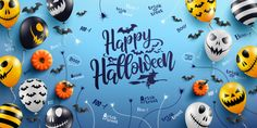 Happy halloween lettering and blue background with halloween ghost balloons Premium Vector Halloween Letters, Feliz Halloween, Fröhliches Halloween, Skull Illustration, Blue Backgrounds, Trick Or Treat, Adobe Illustrator, Vector Free, Balloons