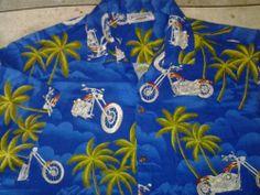 Pacific Legend Motorcycles Choppers Palm Tree Hawaiian Mens Shirt SZ L